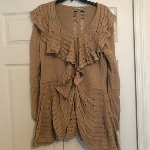 ANTHROPOLOGIE Ruffle Cardigan Sweater // SZ XL